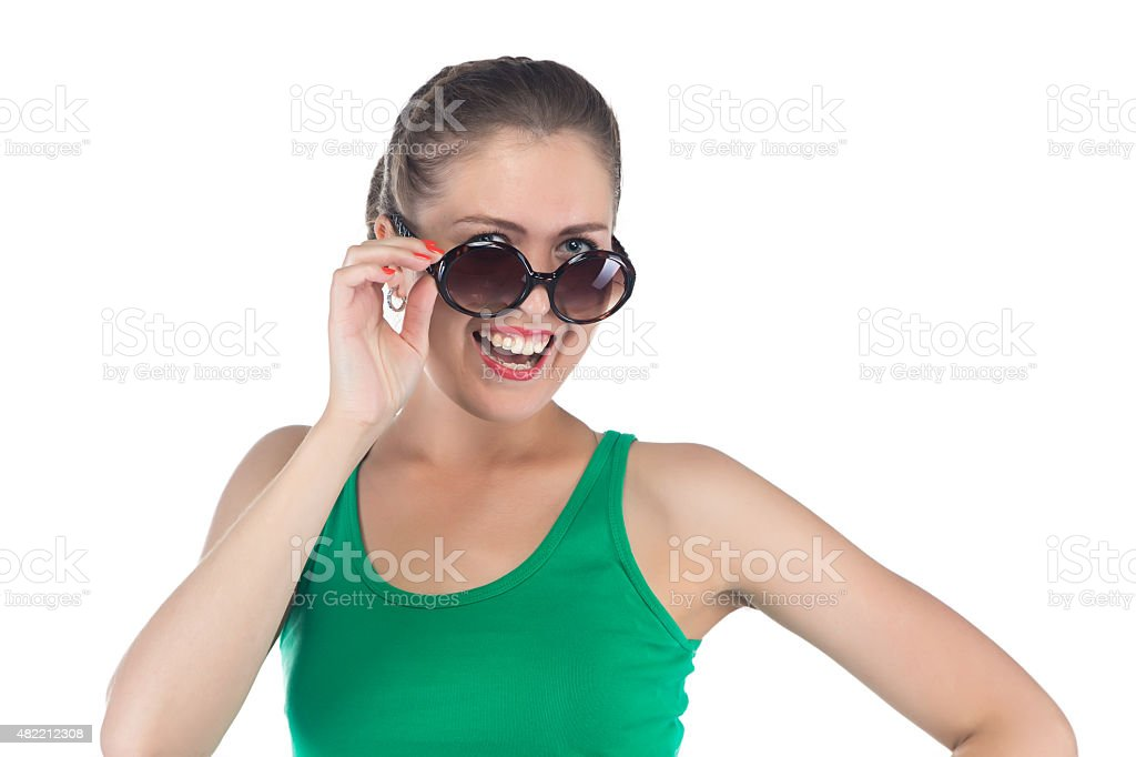 Photo of happy smiling woman with sunglasses stock photo