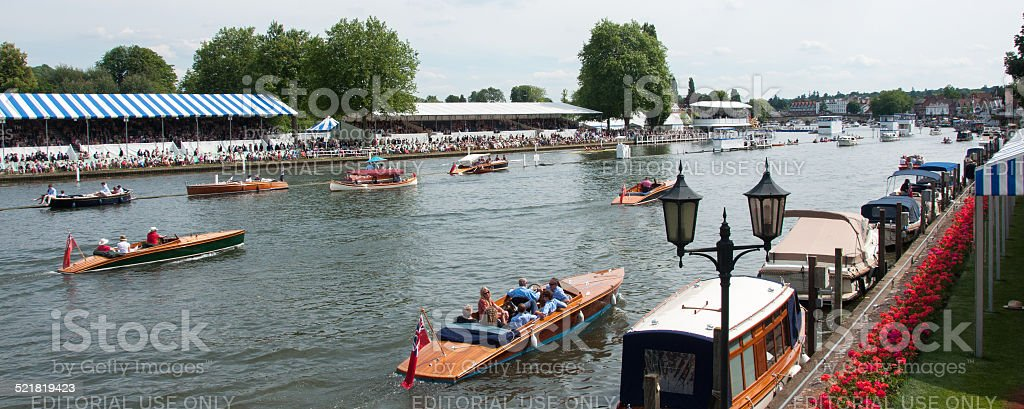 Photo of Henley Regatta Grandstands, Leisure Boats on Thames River stock photo