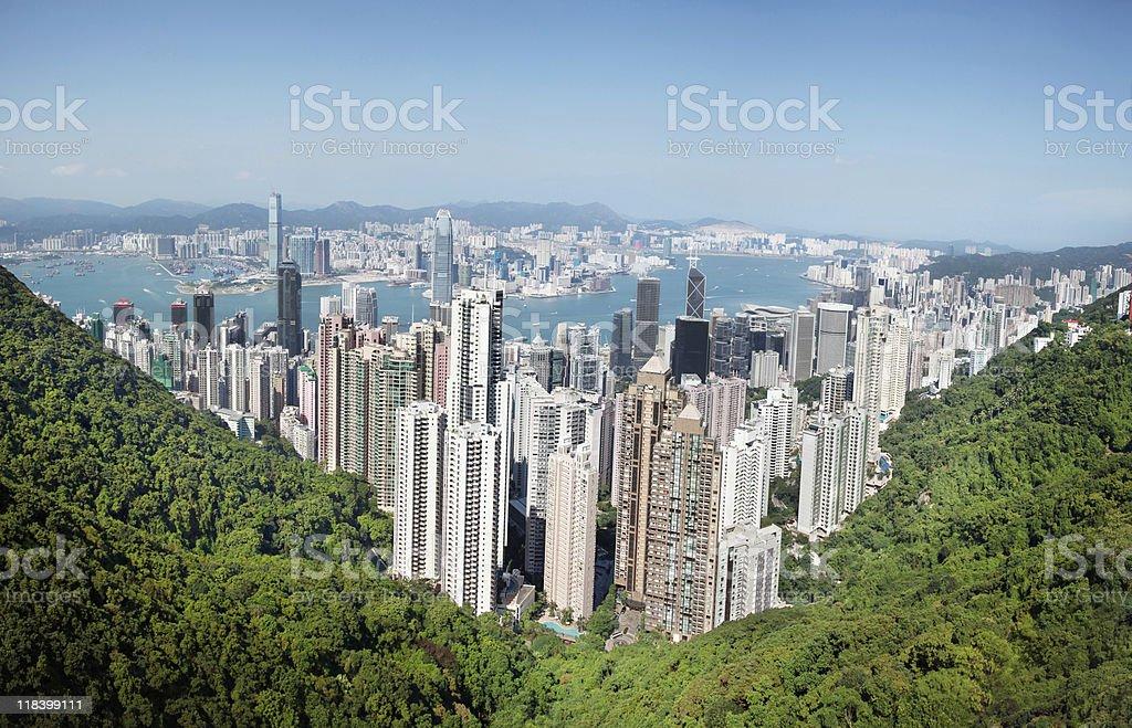 Photo of Hong Kong city in a perfect day stock photo