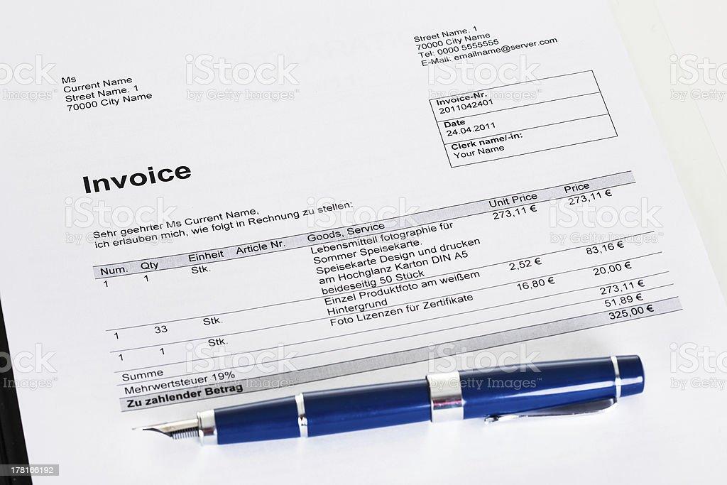 Photo of invoice royalty-free stock photo