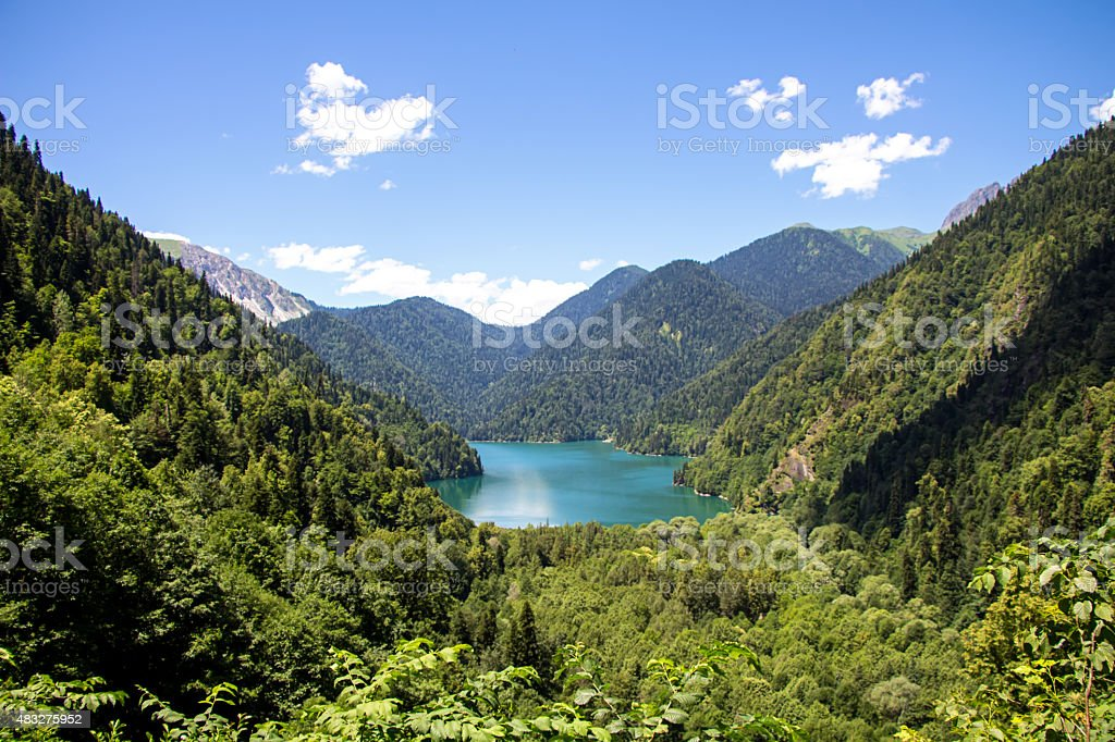Photo of lake in mountains, landscape stock photo