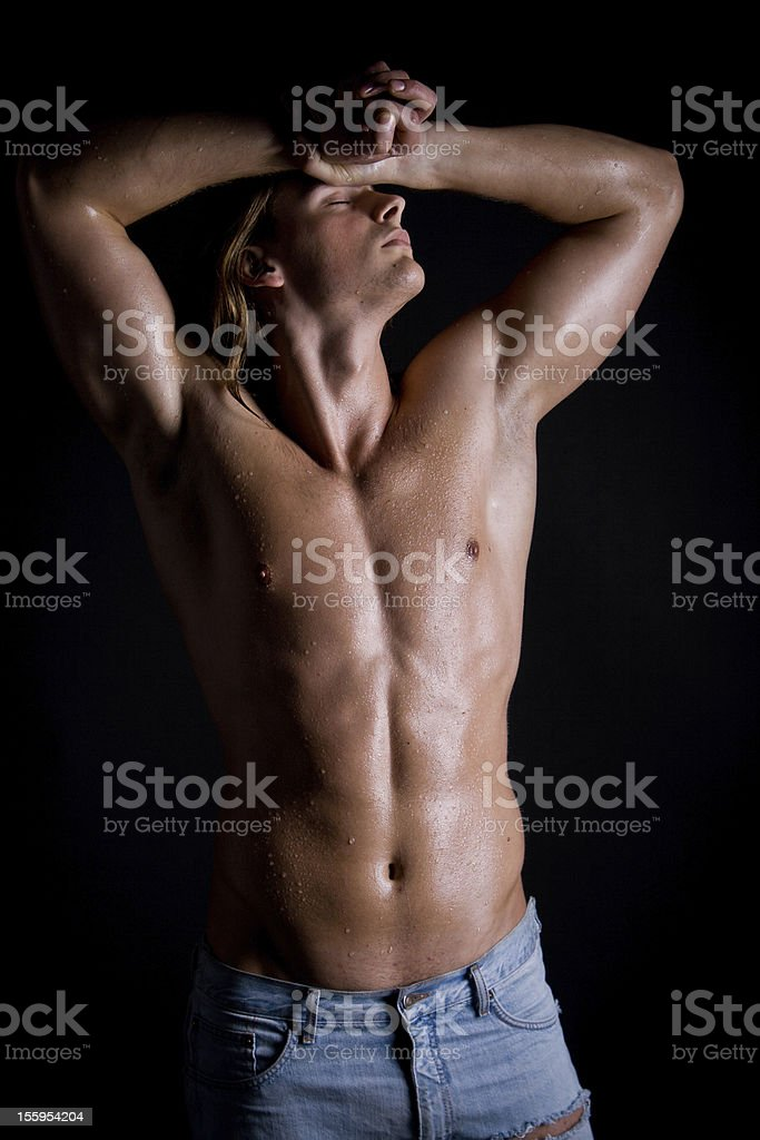 Photo of naked athlete with strong body royalty-free stock photo