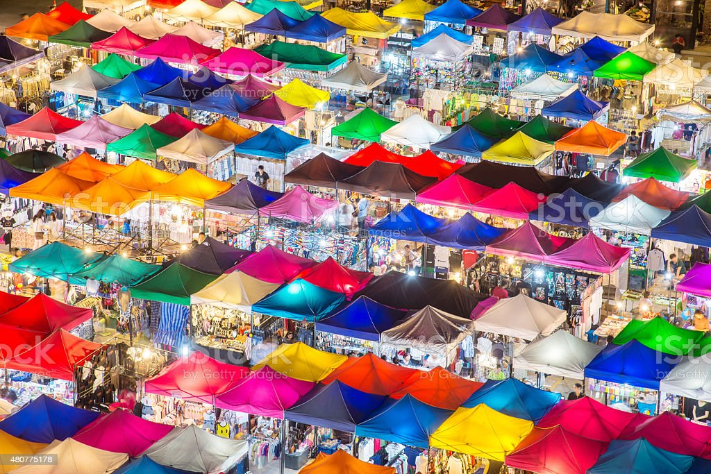 photo of night market high view from building colorful tent stock photo