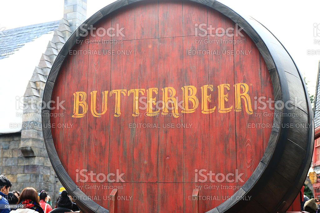 Photo of Oak Barrel Containing BUTTERBEER stock photo