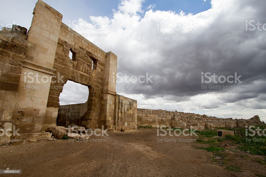 Photo of old historic gate with wide angle lens stock photo