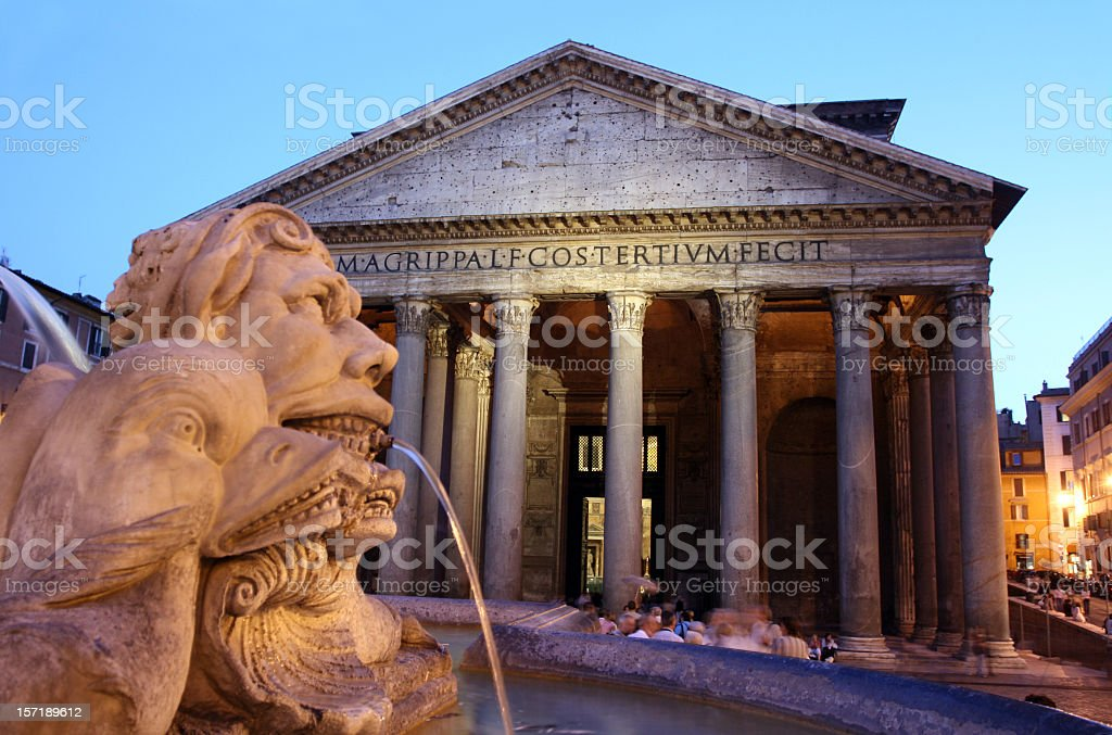 A photo of Pantheon in Rome, Italy, in the early evening stock photo