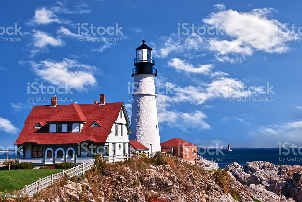 Photo of Portland Head Lighthouse at Cape Elizabeth, Maine stock photo