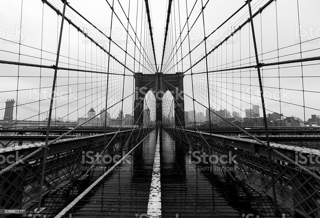 B&W Photo of Rainy Brooklyn Bridge Wide Angle NYC stock photo