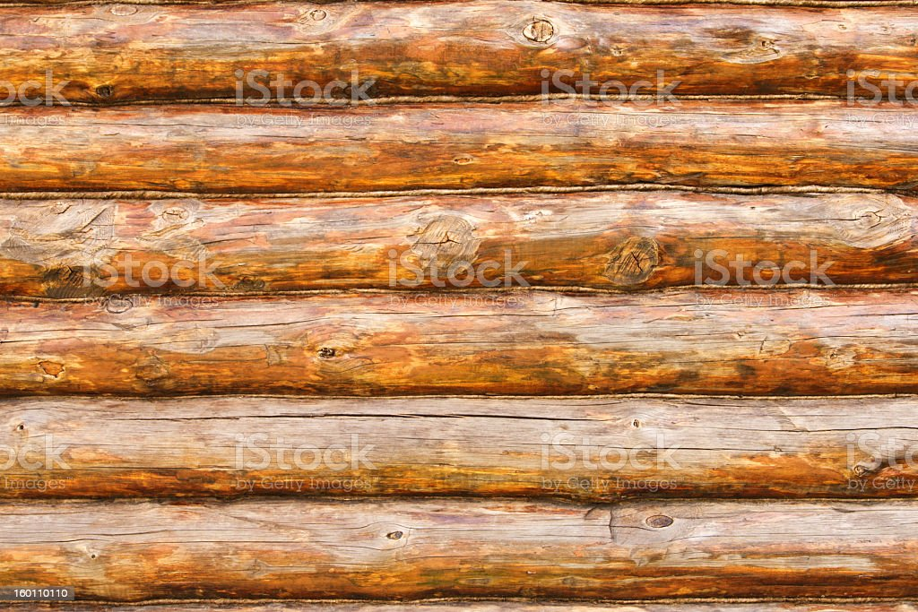 Photo of rustic pine log cabin wall stock photo