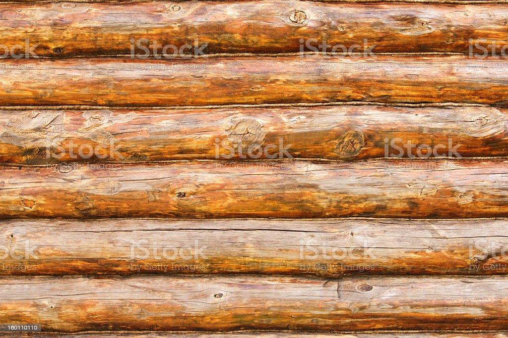 Photo of rustic pine log cabin wall stock photo
