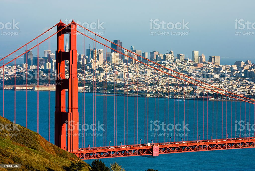Photo of San Francisco through the Golden Gate Bridge stock photo