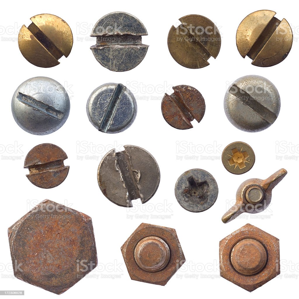 Photo of screws and bolts on a white background stock photo