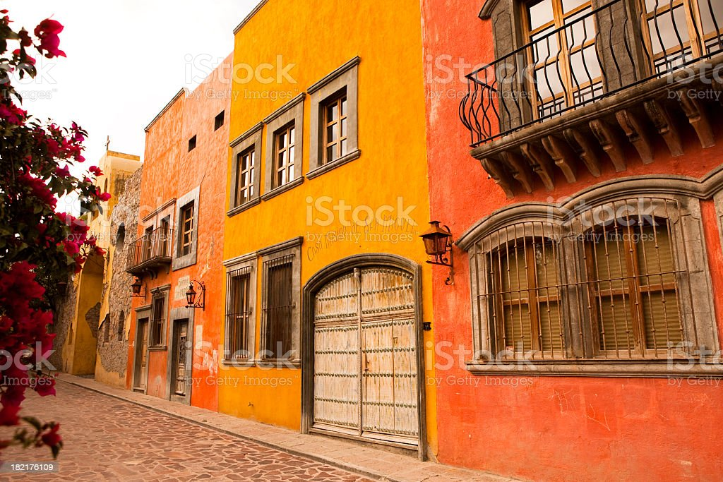 A photo of side-by-side buildings in San Miguel de Allende stock photo
