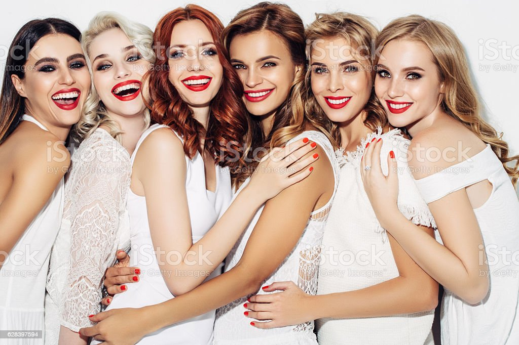 Photo of six beautiful girls stock photo