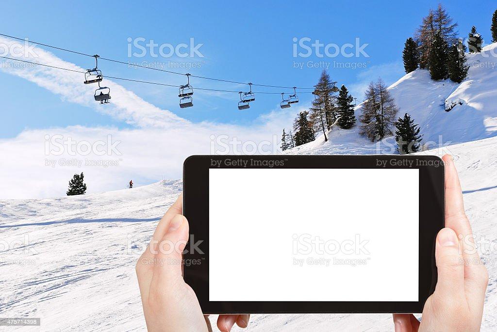 photo of ski lift and slope of Dolomites mountains stock photo