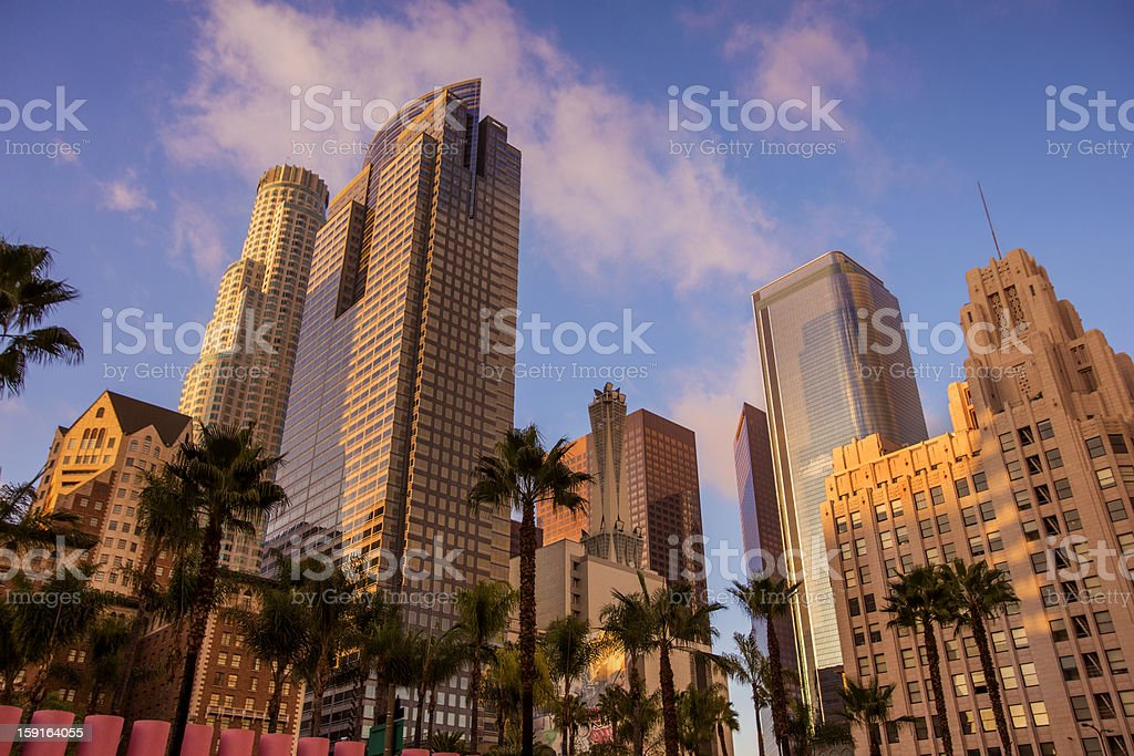 Photo of skyscrapers in downtown Los Angeles w/ palm trees stock photo
