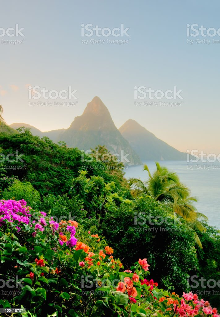 Photo of St. Lucias Twin Pitons at sunrise stock photo