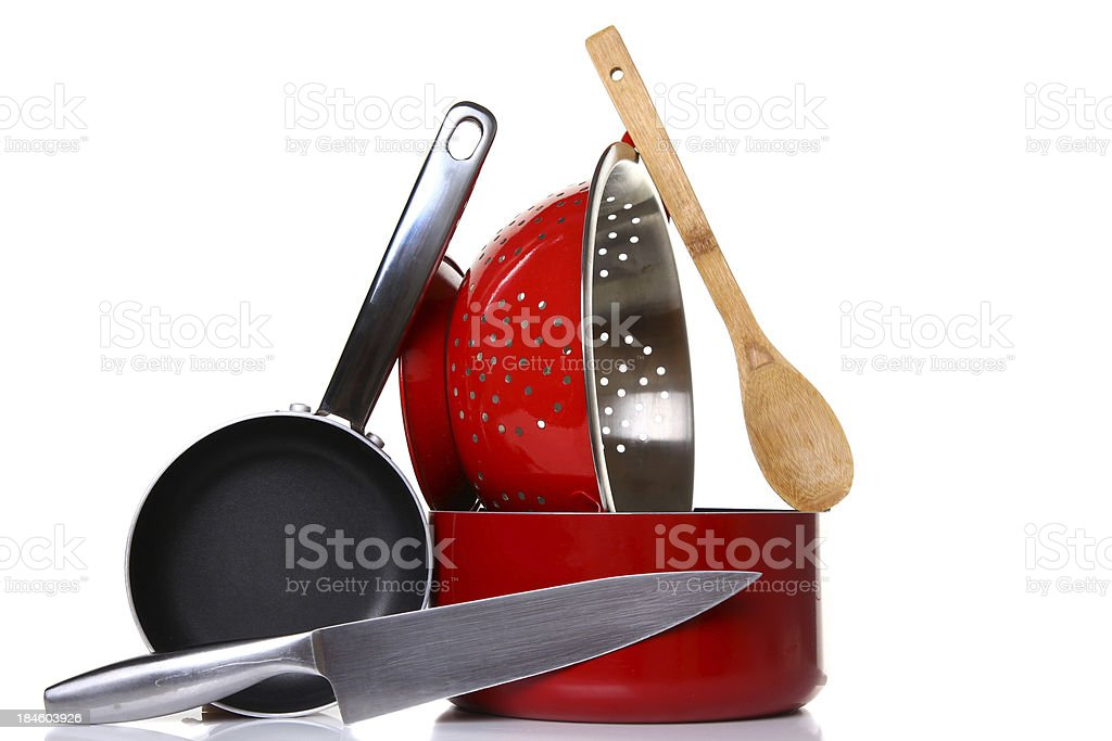 Photo of stacked cooking equipment stock photo