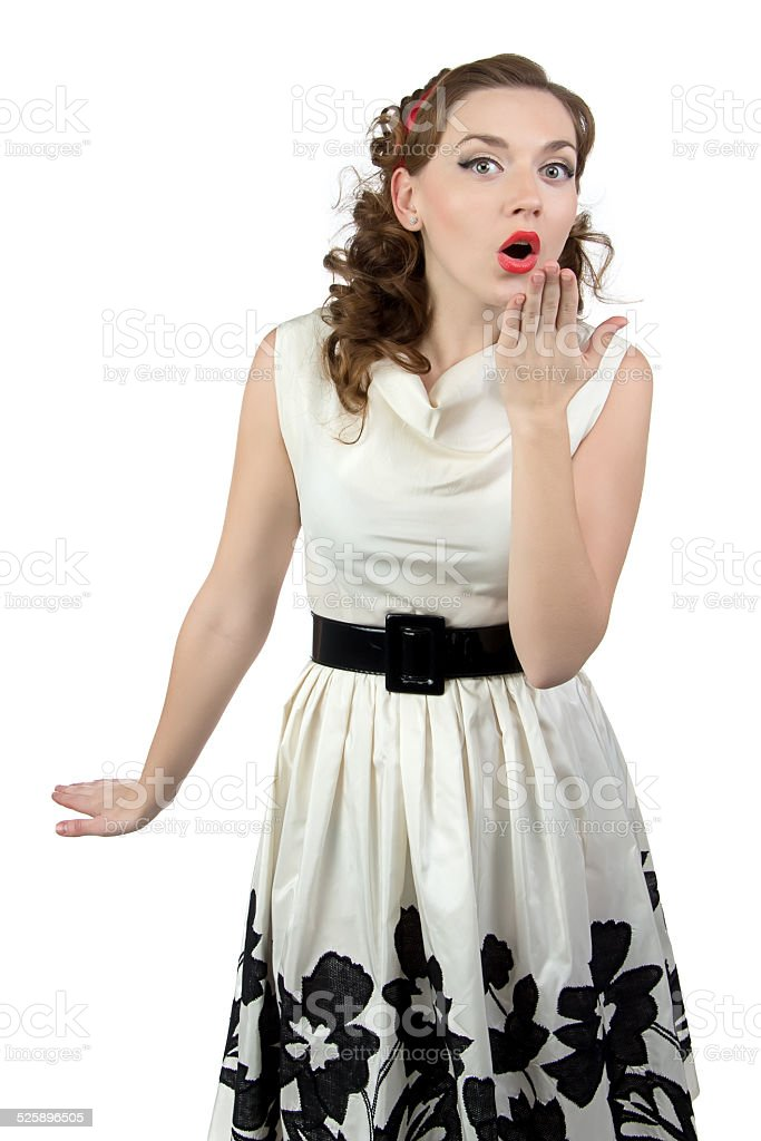 Photo of surprised woman with hand stock photo