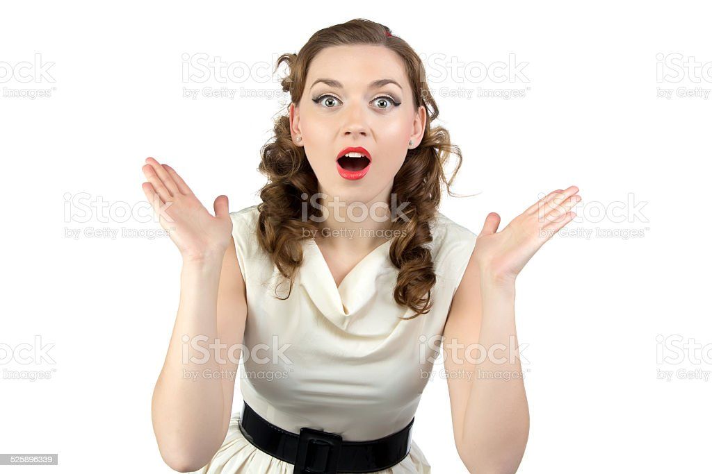 Photo of surprised woman with open mouth stock photo