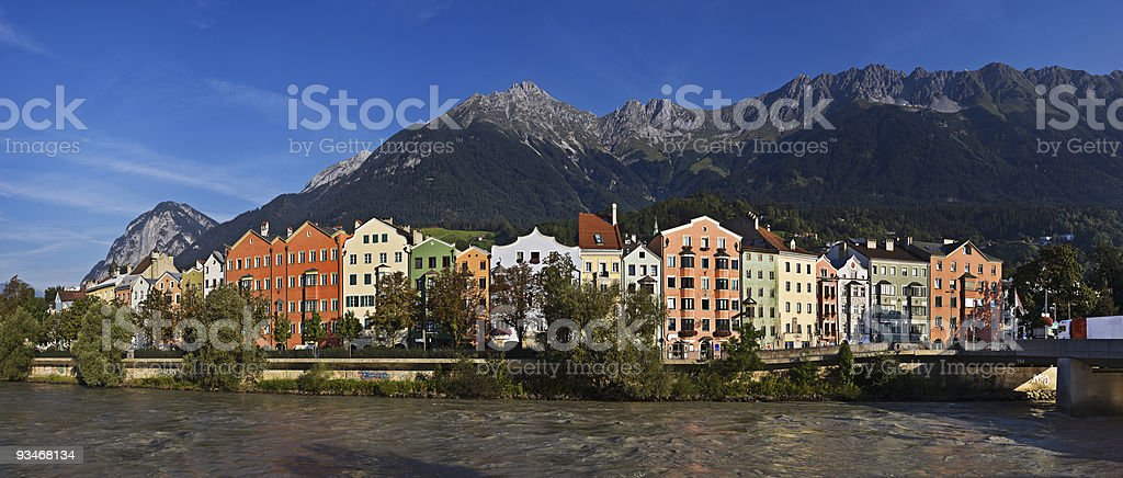 A photo of taken from the water of Innsbruck in Austria royalty-free stock photo