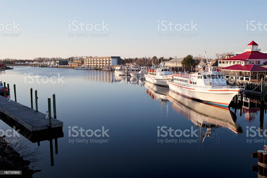 Photo of the harbor in Lewis at dusk stock photo