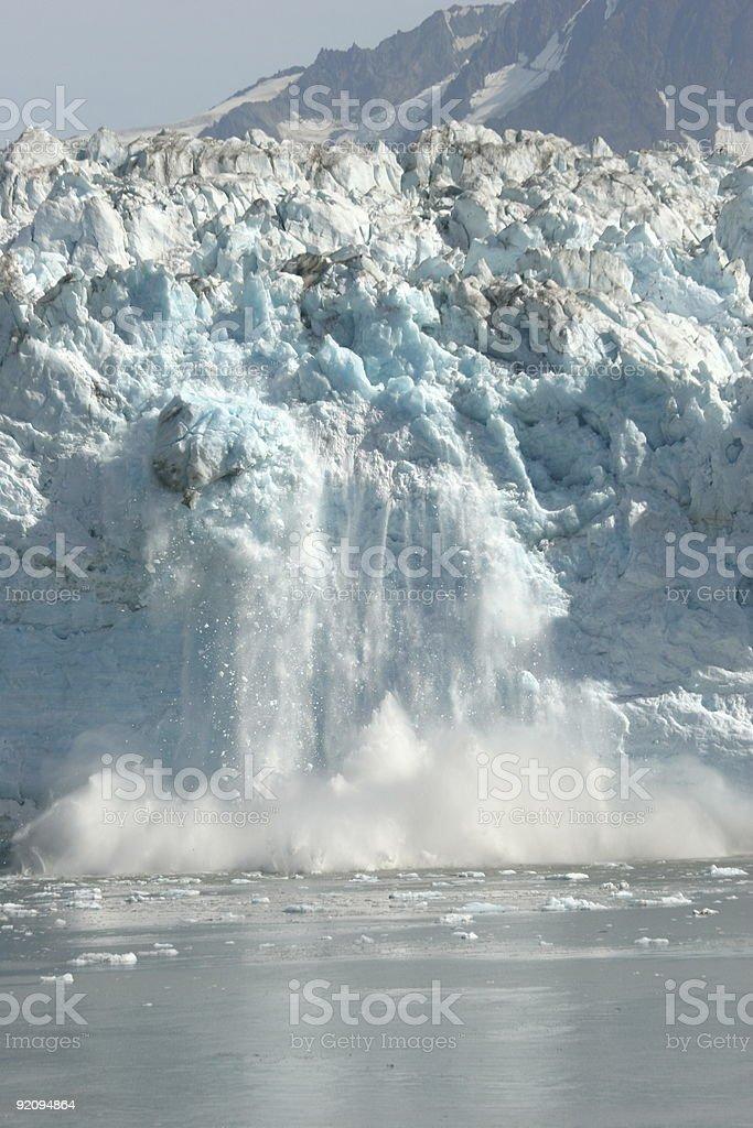 A photo of the Hubbard Glacier calving royalty-free stock photo