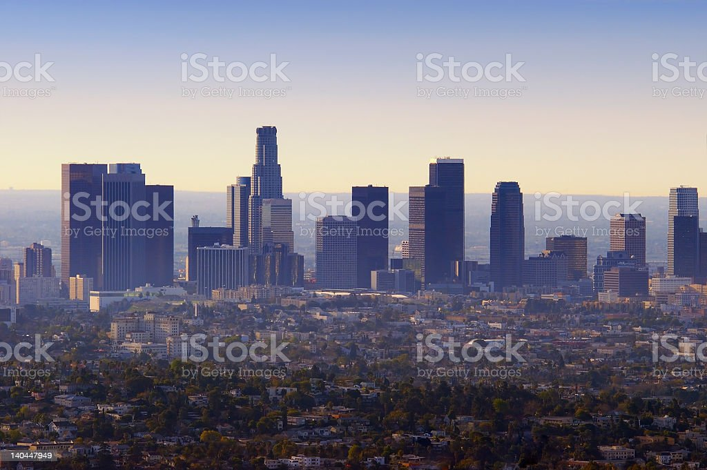 Photo of the Los Angeles skyline and smog stock photo
