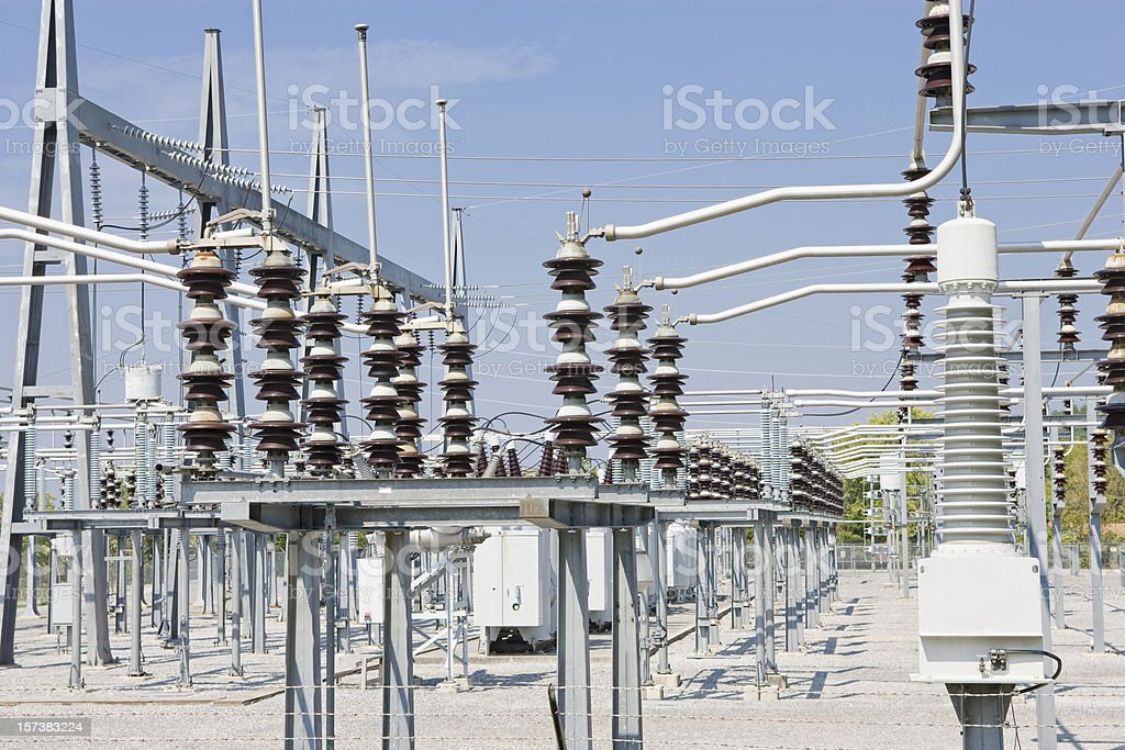 Photo of the power grid at the power station stock photo
