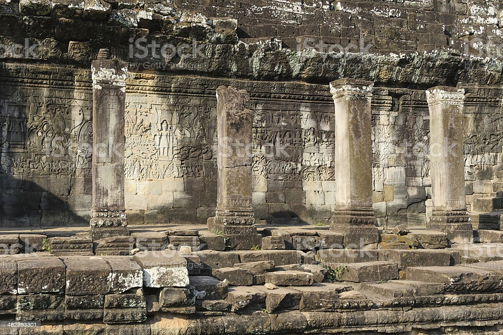 Photo of the ruins of the Bayon Temple in Central Cambodia. royalty-free stock photo