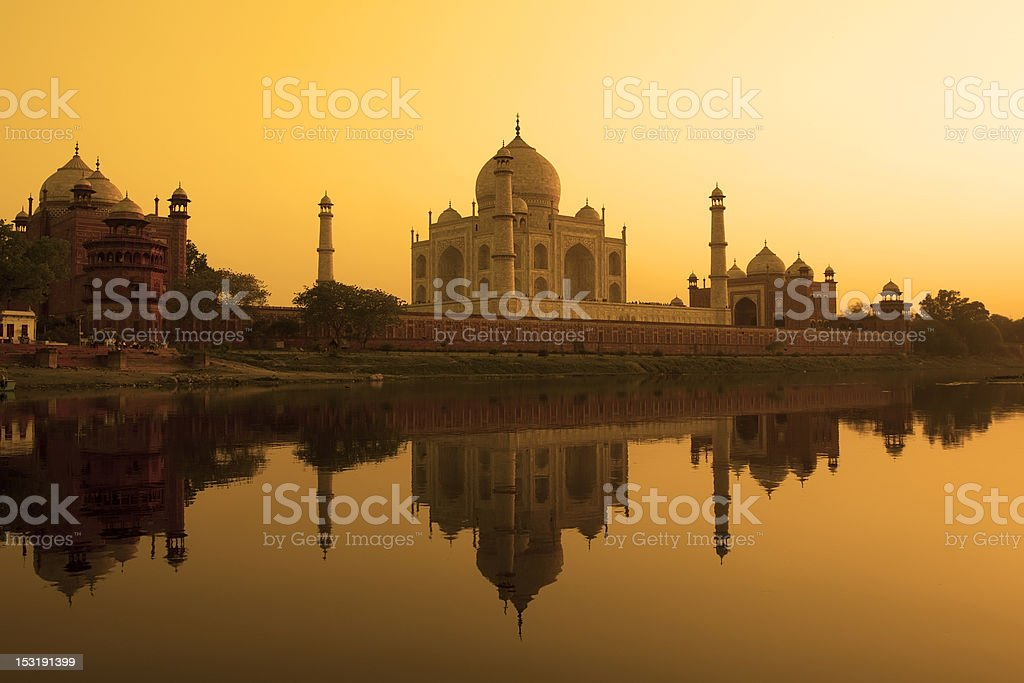 Photo of the Taj Mahal at sunset in India stock photo