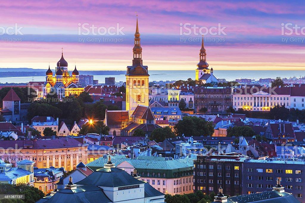 Photo of the town of Tallinn, Estonia taken in the evening  stock photo