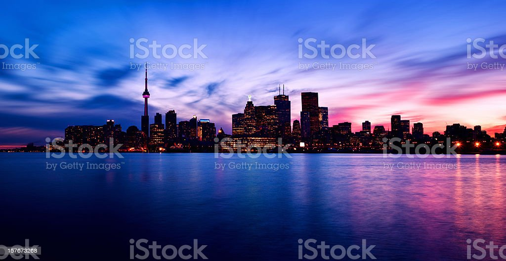 Photo of Toronto skyline at night stock photo
