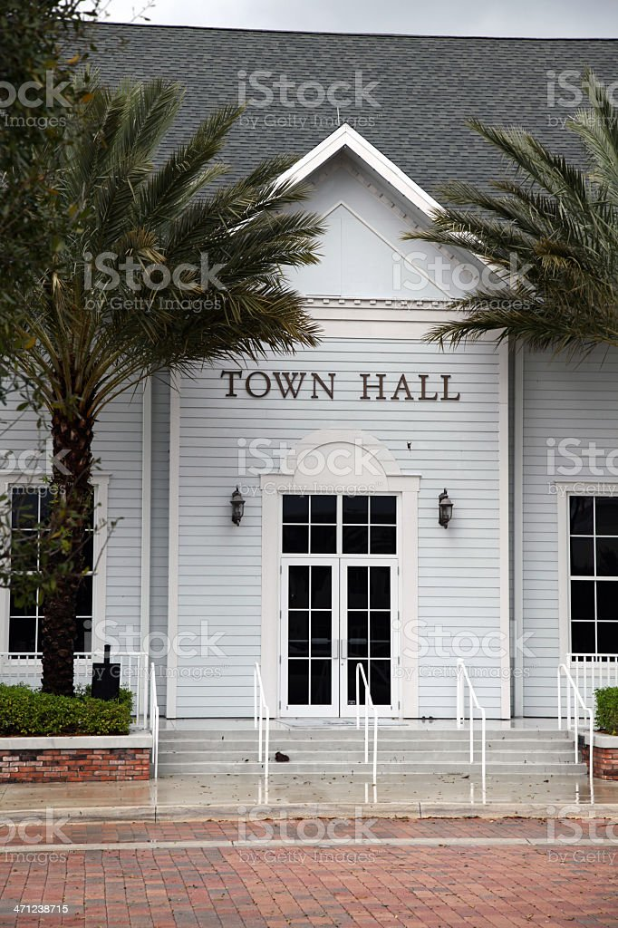 Photo of Town Hall Entrance with Palm Trees royalty-free stock photo