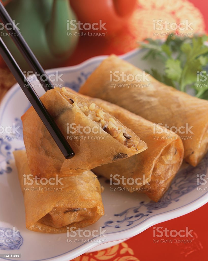 A photo of traditional Chinese fried spring rolls stock photo