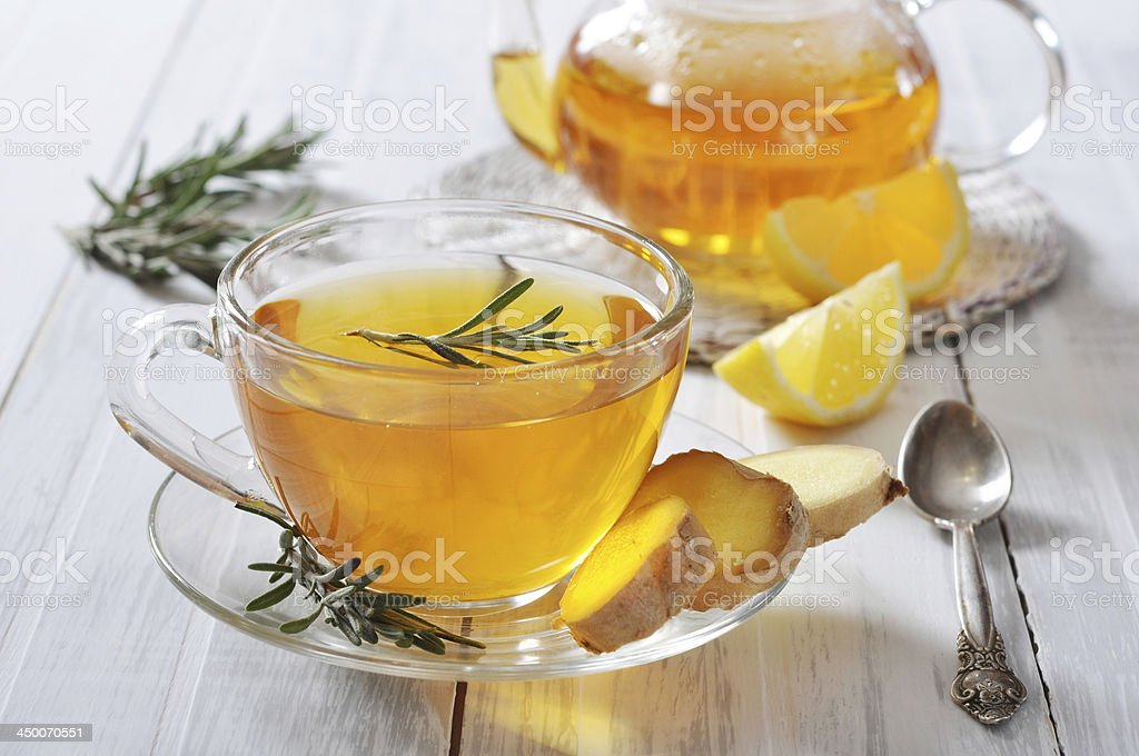 Photo of two cups of ginger tea stock photo