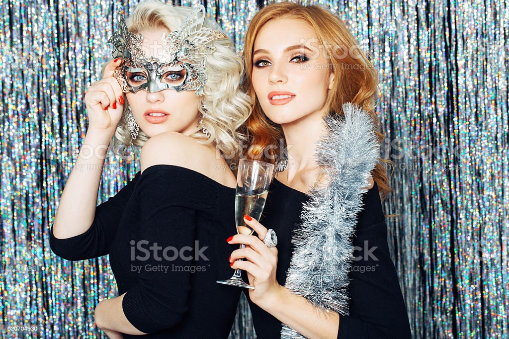 Photo of two laughing girls stock photo