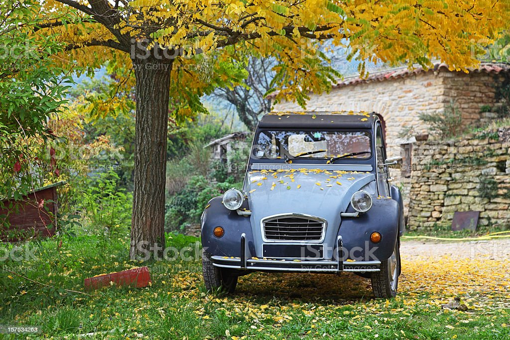 Photo of typical blue French car parked under a tree stock photo