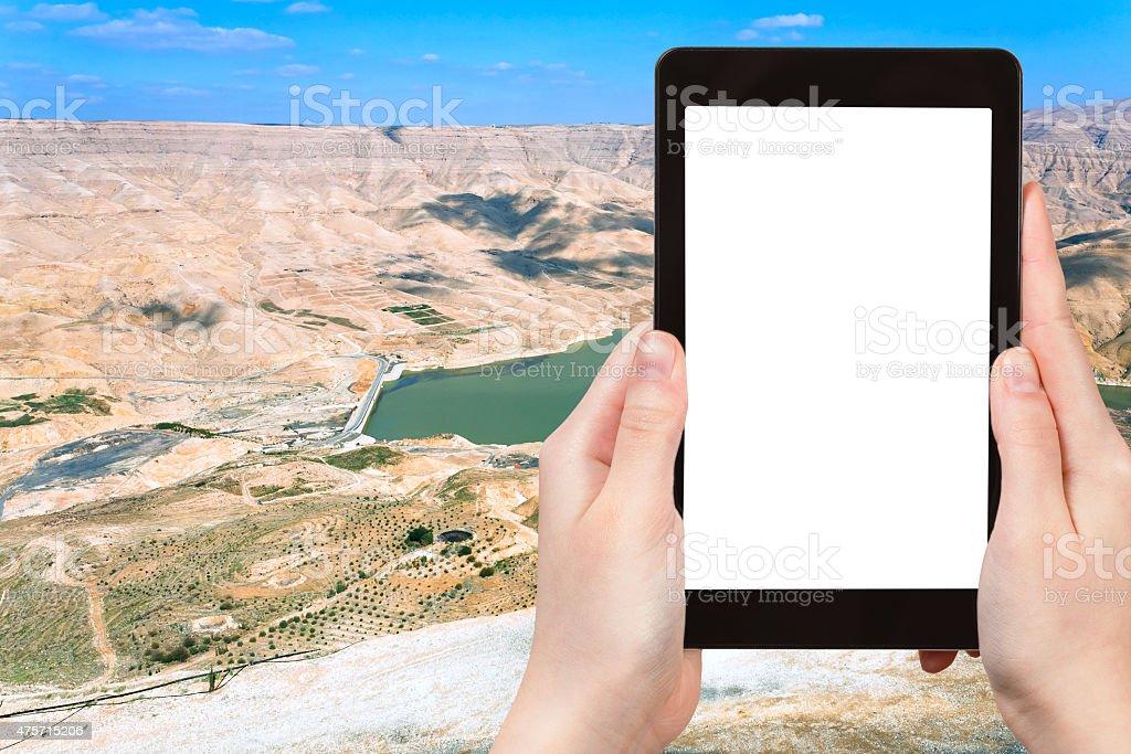 photo of valley of Wadi Al Mujib river, Jordan stock photo