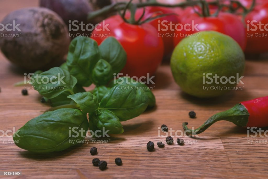 Photo of vegetables on a wooden table stock photo