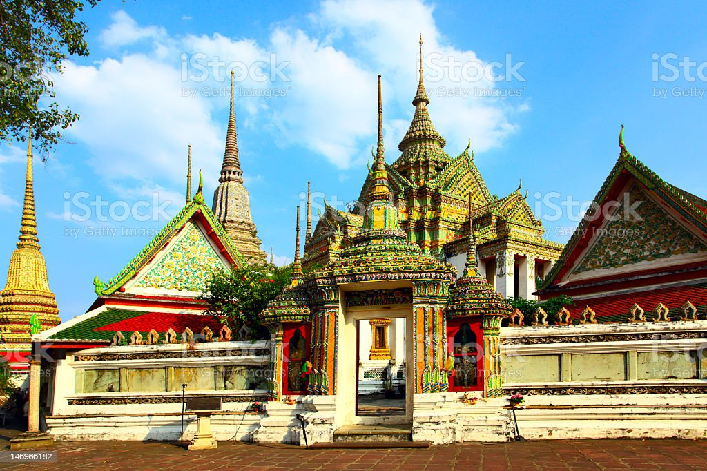 HDR Photo of Wat Pho, a Buddhist temple complex in Bangkok stock photo