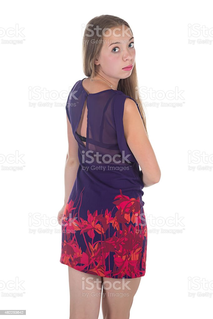 Photo of young woman from back stock photo