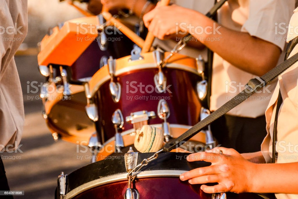 Photo picture of barrel drum band stock photo