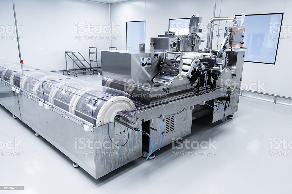Photo production, clean room with stainless steel hardware stock photo