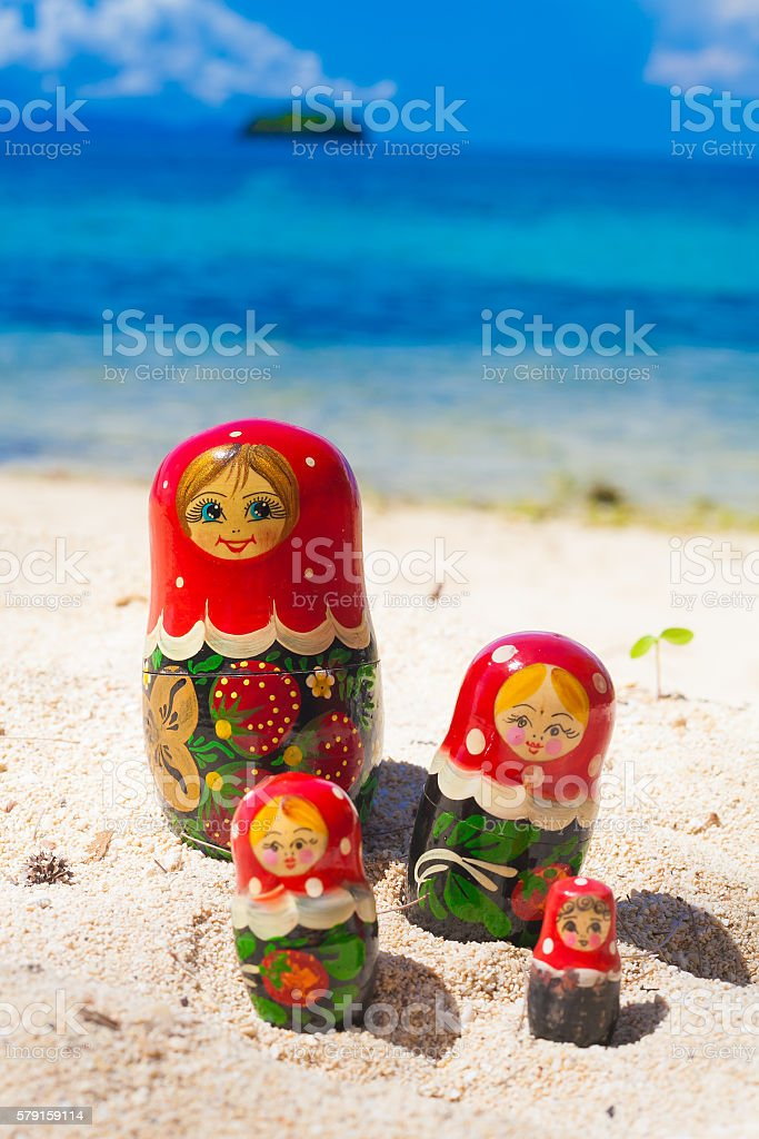 Photo Rows Puzzle Russian Dolls Matrioshka Family Souvenir Untouched Tropical stock photo
