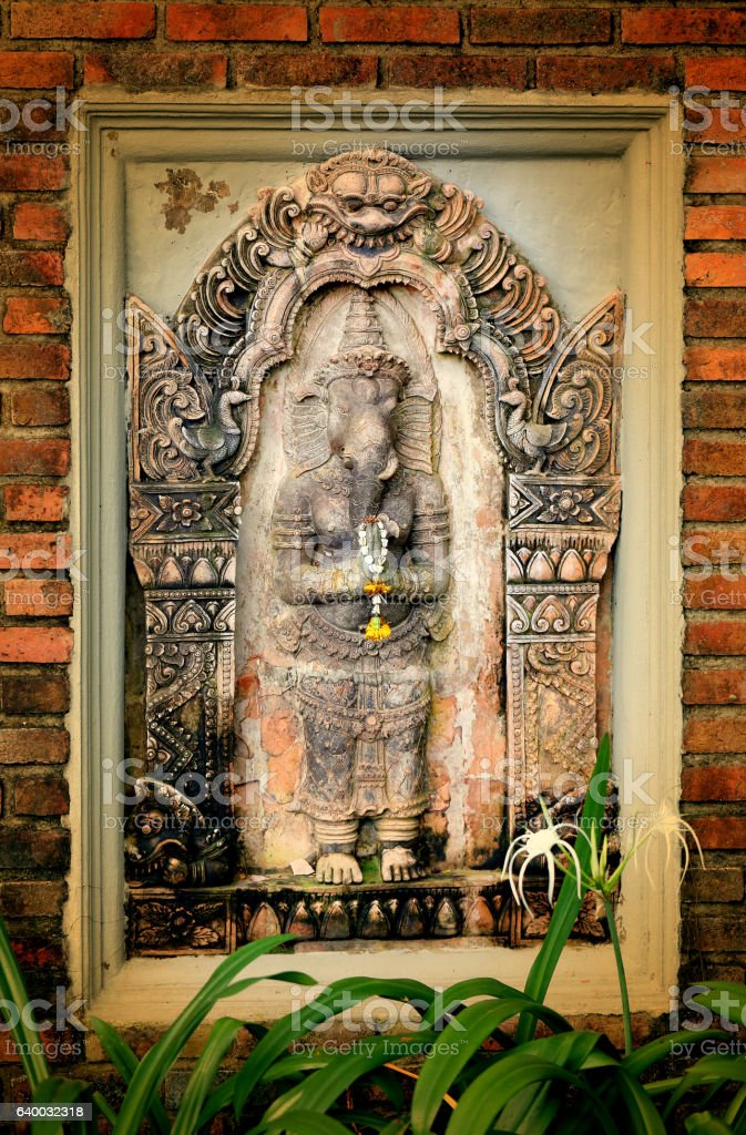 Photo sculpture of the god Ganesha stock photo