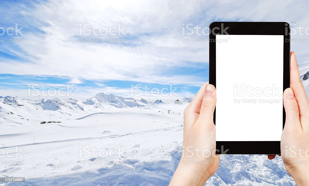 photo skiing in Alps of Paradiski area, France stock photo