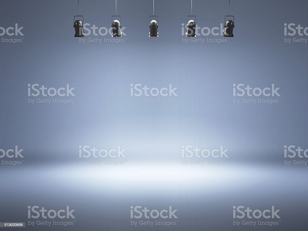 Photo studio background with lamps stock photo