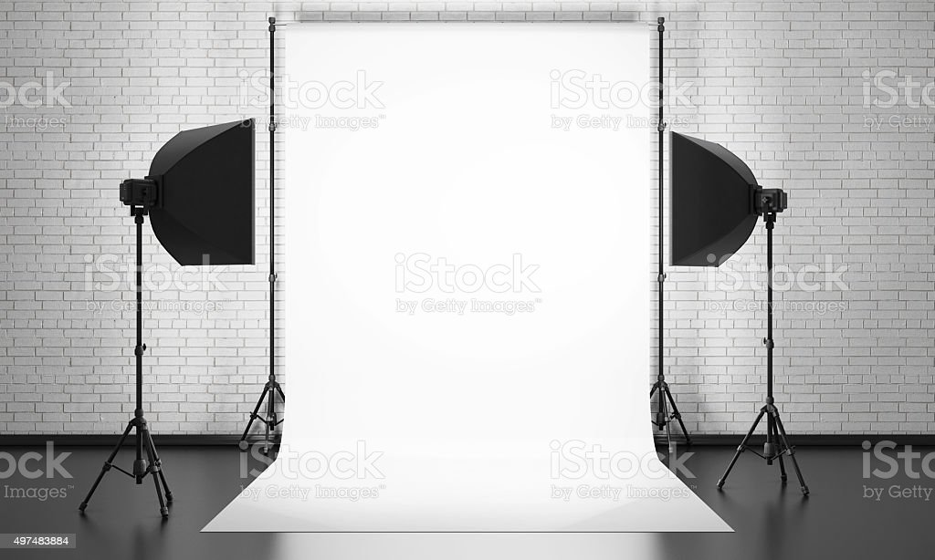 Photo studio equipment on a brick wall background. 3d. stock photo