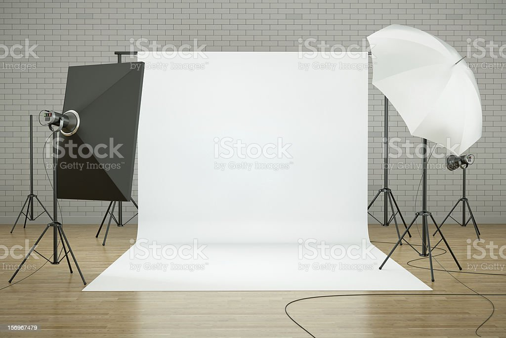 Photo studio interior with photographic lighting and equipment stock photo